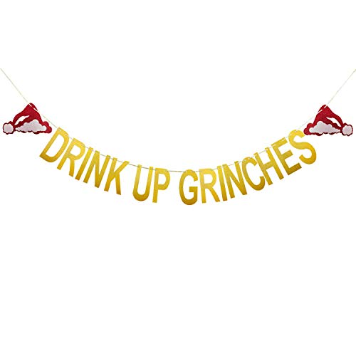 Aozer Drink Up Grinches Christmas Hat Banner Gold Glittery Party Props Garland Bunting Sign for Xmas Party Decoration ()