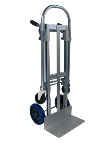 RWM Casters Aluminum Convertible Hand Truck with Loop Handle and Aluminum Center Strap, Pneumatic Wheels, 500 lbs Load Capacity, 51