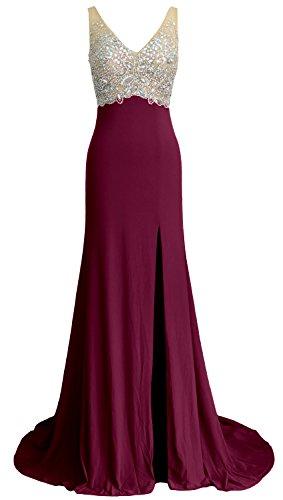 Gown MACloth ball Abito a da Sirena Scollo Red Wine cristallo V lunghe formale maniche Donna sera rqrOwA7xR