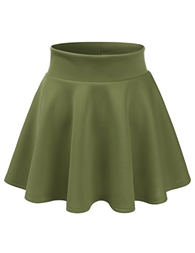 CLOVERY Women's Vintage A-line Printed Pleated Flared Midi Skirts Darkgreen XL Plus Size Bias Cut Elastic Waist Skirt