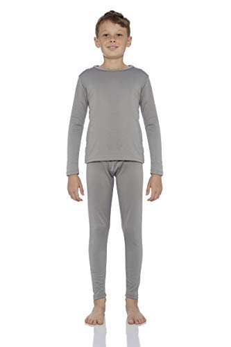 - Rocky Boy's Fleece Lined Thermal Underwear 2PC Set Long John Top and Bottom (M, Grey)