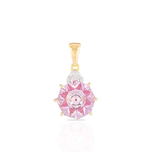 Lehrer KaleidosCut 10K Yellow Gold Pendant For Women 5.50 Cttw Octogon Pink Amethyst Ruby With Natural Diamond