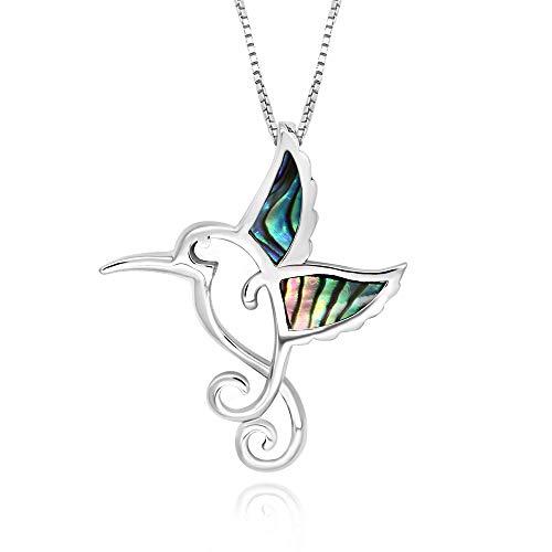 Pendant Hummingbird Sterling (925 Sterling Silver Abalone Shell Hummingbird Pendant Necklace, 18