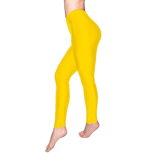 DCOIKO Women's Shiny Nylon Stretchy Skinny Dance Leggings Pants (M, Yellow) ()