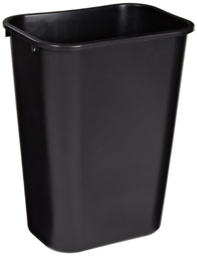 "Rubbermaid Commercial 2957 10-Gallon Deskside Large Trash Can, Rectangular, 11"" Width x 15-1/4"" Depth x 19-7/8"" Height, Black"
