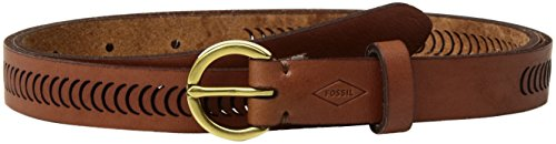 Fossil Women's Lasered Cresent Perforated Leather Belt Accessory, -tan, M