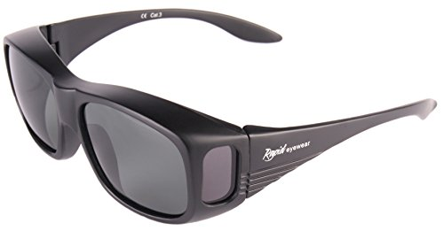Rapid Eyewear Polarized OVERGLASSES SUNGLASSES that Fit Over Glasses for Men & Women. UV 400. For Driving, Cycling, Fishing and Other Sports. Matt - Around Frames Wrap Spectacle