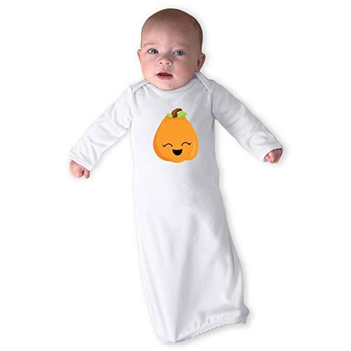 Kawaii Halloween Pumpkin Cute Smile Long Sleeve Envelope Neck Boys-Girls Cotton Newborn Sleeping Gown One Piece - White, Gown Only -