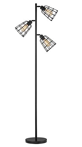 "Modern Floor Lamp for Living Room Bright Lighting Tall Stand Up Lamp Farmhouse Rustic Industrial Black Tree Floor Lamps for Bedrooms, Office with Reading Light Standing Lamp - Elegant Appearance: a unique rustic industrial style, and practical floor lamp to meet your basic lighting needs. This modern black 3 light tree floor lamp with reading light perfect for living room, bedrooms, office, kids room, dining room , or college dorm. Product Dimensions: Height 65"" ,Metal Base diameter 10.23"" ,Shade diameter 5.9"" ,Cord length 70"". Adjustable Light Head: Three 180° up and down adjustable iron lamps head with open shades to shine light anywhere. Flexible & Convenient: Plug-n-play instant operation, convenient step-on switch for simply on/off access. - living-room-decor, living-room, floor-lamps - 31DywFH97LL -"