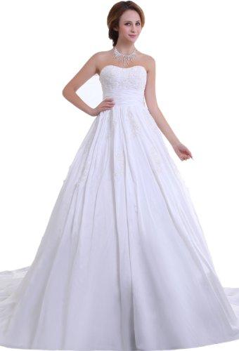 heart Lace Shoulder Taffeta Ball Gown Wedding Dresses(22,White) (Shoulder Taffeta Ball Gown)