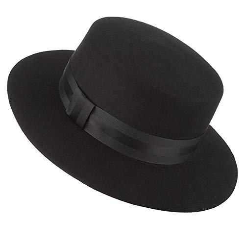 DOSOMI Autumn Winter Wide Brim Fedoras Men Jazz Hat Flat Brim Felt Cap Wool Fashion Women Jewish Hat,Black
