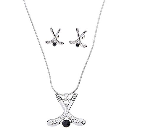 Infinity Collection Hockey Charm Necklace & Earring Gift Set, Ice Hockey Jewelry, for Hockey Players, Hockey Moms & Fans (Hockey Jewelry)