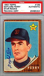 Gaylord Perry Signed 1962 Topps Rookie Card #199 San Francisco Giants - PSA/DNA Authentication - Baseball Collectible
