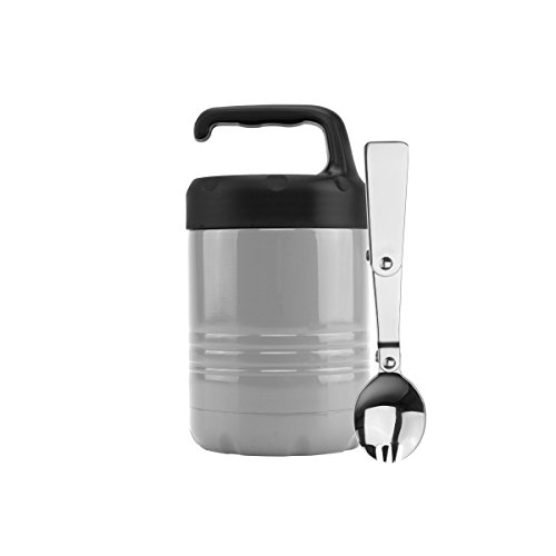 ICONIQ Qore Stackable Stainless Steel Insulated Food Jar with Fold-Out Spork 10 ounce | (Sleek Green Slate)