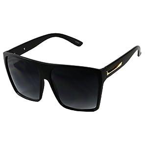Basik Eyewear - Big XL Large Square Trapezoid Shaped Frame Oversized Fashion Sunglasses (Matte Black, Gradient Black)