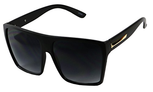 Basik Eyewear - Big XL Large Square Trapezoid Shaped Frame Oversized Fashion Sunglasses (Matte Black, Gradient Black) (Sunglasses Square Women For)