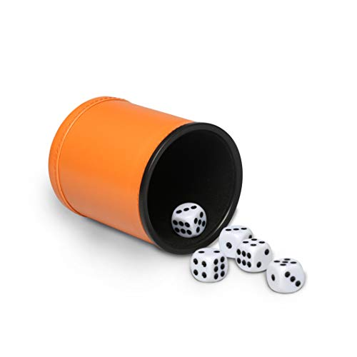 Felt Lined Dice Cup Set Orange PU Leather Dice Rolling Cup with 5 Standard Dot Dices Quiet Shaker for Farkle Yahtzee Bar Party Family Games Play