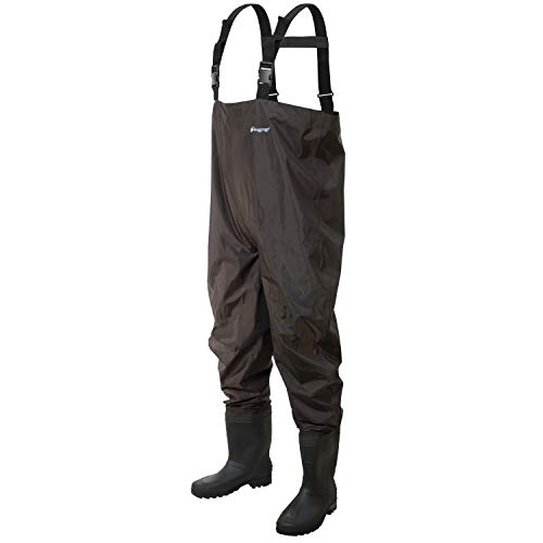 Frogg Toggs Rana II PVC Bootfoot Chest Wader, Cleated Outsole, Brown, Size 10