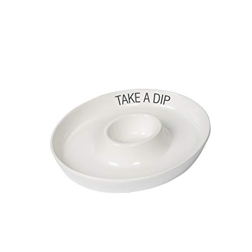 Tabletops Gallery - 16.5 inch White Oval Chip and Dip Platter Take a Dip