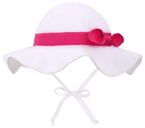 Siero Infant Sun Hat 6-12 Months UPF 50+ Wide Brim Adjustable Beach Hat, White