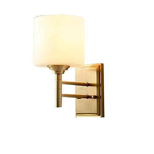 Yaione American Simple Fashion Wall Light Creative Glass Lampshade Copper Golden Jade Leaf Restaurant Study Bedroom Indoor Living Room Corridor Stairs Attic Rural Mediterranean Luxury Wall Sconce Copp