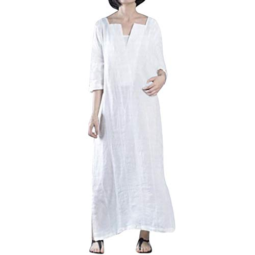 AMSKY Hooded Dress Womens,Plus Size Womens Ethnic Loose Kaftan Long Sleeve V Neck Cotton Long Maxi Dress,White,4XL
