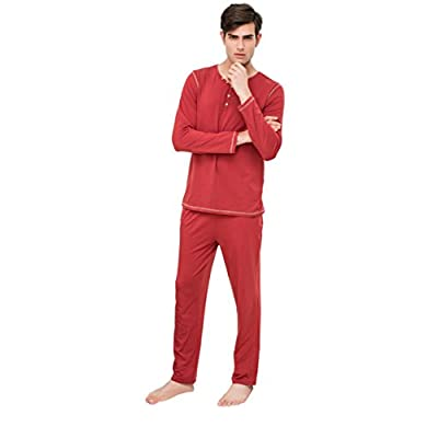 New Qianxiu Men's Winter Flannel Organics Knit Pajamas Loungewear 2 Piece Pockets Set