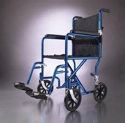 "Medline Ultralight Transport Chair, 19"" Wide Seat, Permanent Desk-Length Arms, Swing Away Footrests, Blue Frame"