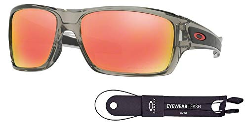 (Oakley Turbine OO9263 926310 63M Grey Ink/Ruby Iridium Polarized Sunglasses For Men+BUNDLE with Oakley Accessory Leash Kit)