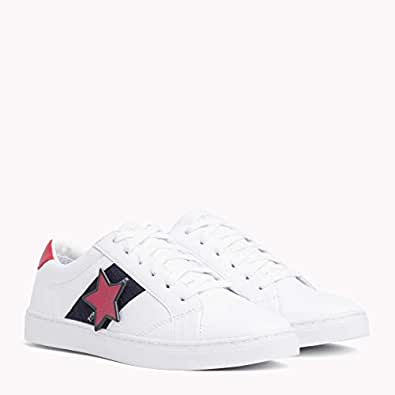 TOMMY HILFIGER Women's Star Badge Low-Top Trainers, White, 36 EU
