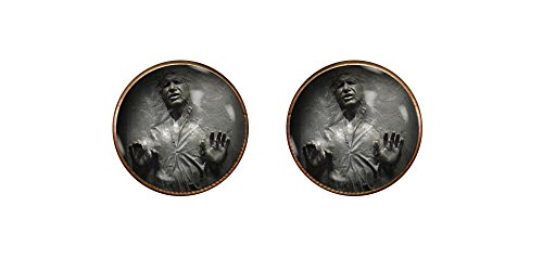 CHAOTICFASHION Han Solo Frozen in Carbonite 16mm Cufflinks Handmade Star Wars Chewbacca Jewelry Gift Pendant Charm (Cufflinks Mm 16)