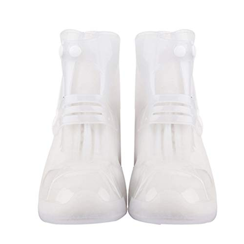 (Alamana PVC Unisex Waterproof Protector Rain Shoes Boots Cover High-Top Anti-Slip Overshoes White M )