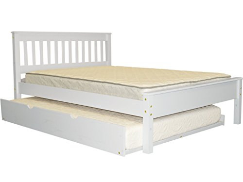 Bedz King Full Bed Mission Style with a Full Trundle, White