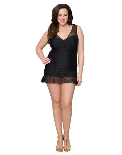 Kiyonna Women's Plus Size Madison Swimsuit 0X Black Noir
