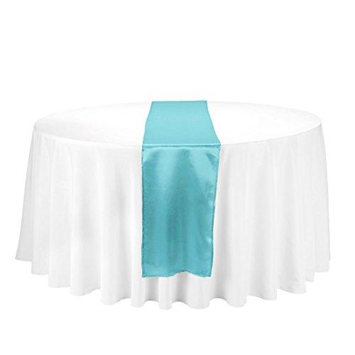 LinenTablecloth 14x 274.3cm satén camino de mesa turquesa