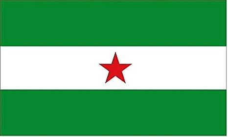 DURABOL Bandera de Andalucía con estralla andaluz flag Andalucistas 90x150cm SATIN: Amazon.es: Hogar