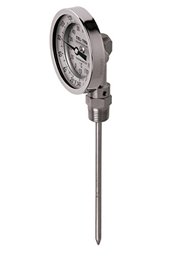 Tel-Tru 40100450 Model Bc550R Resettable Bi-Metal Process Grade Thermometer, Stainless Steel, 5'' Dial, 1/2'' Npt Bottom Connection, 0.250'' Diameter x 4'' Long 304Ss Stem, 0/200 Degrees Fahrenheit, +/- 1% Full Span Accuracy by Tel-Tru