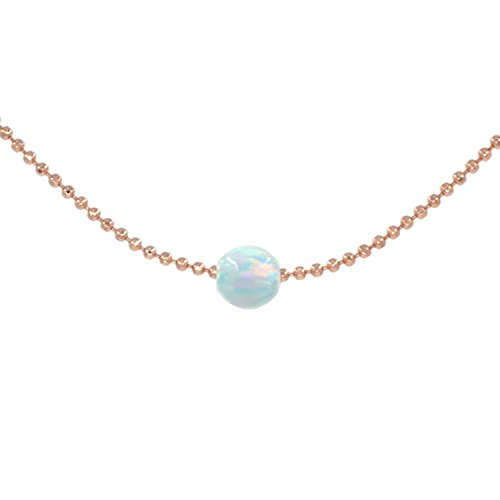 Floating White Opal Choker Necklace 12 Inch with Exender 18K Rose Gold Plated
