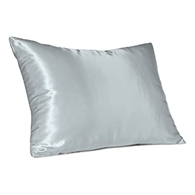 Sweet Dreams 2-Pack Luxury Satin Pillowcase with Zipper, Queen Size, Baby Blue (Silky Satin Pillow Case for Hair) By Shop Bedding