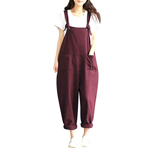 - Women Cargo Sleeveless Dungarees Loose Cotton Long Playsuit Jumpsuit Bib Pants