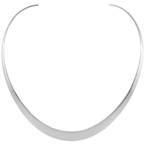 Silver Collar Sterling (Sterling Silver Collar Necklace Choker Oval shape Handmade 3/8 inch wide)