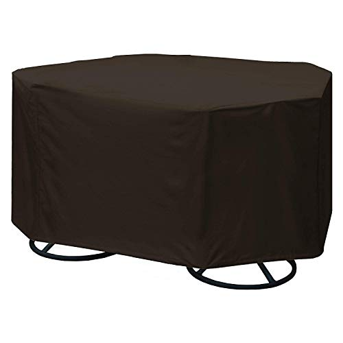 True Guard Patio Furniture Covers Waterproof Heavy Duty - Fits 4-Chair Dining Sets, Round/Square Table, Octagon Design, 600D Rip-Stop, Fade/Stain/UV Resistant for Outdoor Patio Furniture, Dark Brown (Round Patio Table Chair Cover)
