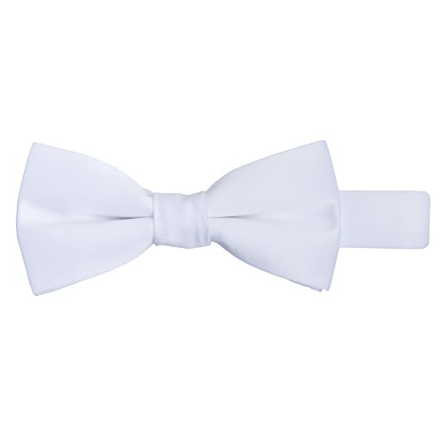 Jacob Alexander Boy's Kids Pretied Banded Adjustable Solid Color Bowtie - White by Jacob Alexander