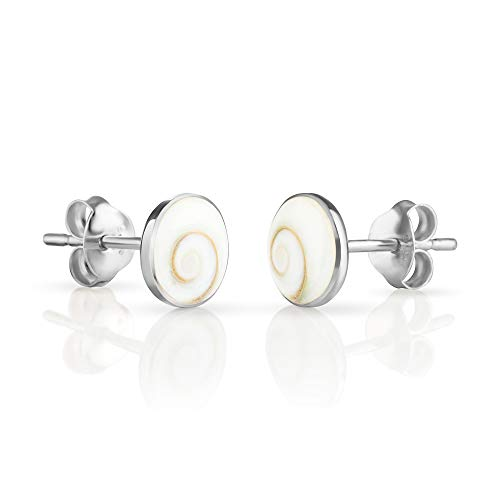 925 Sterling Silver Tiny White Shiva Eye Shell Circle Post Stud Earrings (Genuine Silver Shell)