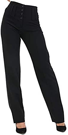 Womens Slim Fit Plain Stretchy High Waist 4 Button Trousers Smart Pants