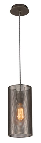 (HOMIFORCE UL Listed Contemporary 1-Light Cylindrical Pendant Light with Perforated Metal Shade Simplicity Industrial Edison Fixture in Silver Finish CL2017047 (Jasminum))