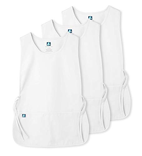 (Adar Unisex Cobbler Apron (3 Pack) with 2 Pockets / Adjustable Ties - Available in 30 Colors - 7023 - WHT - X)
