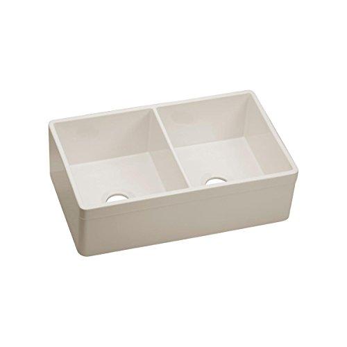 Elkay SWUF32189BI Fine Fire Clay Double Bowl Undermount Kitchen Sink, 33 x 20 x 10-1/8