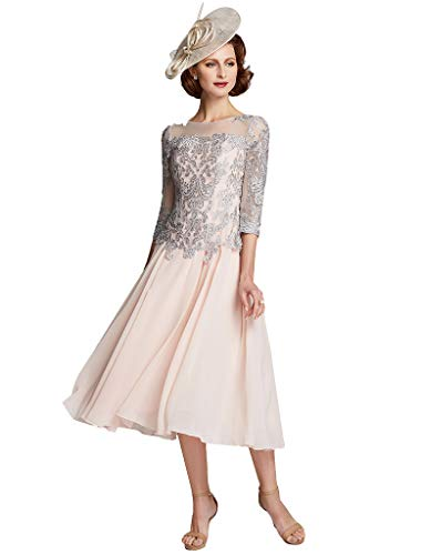 TS Women's A-Line Jewel Neck Tea Length Chiffon Lace Mother of The Bride Dress with Beading Sky Blue