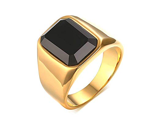 Gothic Black Onyx - POVANDER Gold Plated Stainless Steel Vintage Gothic Square Agate Black Onyx Ring for Men,8